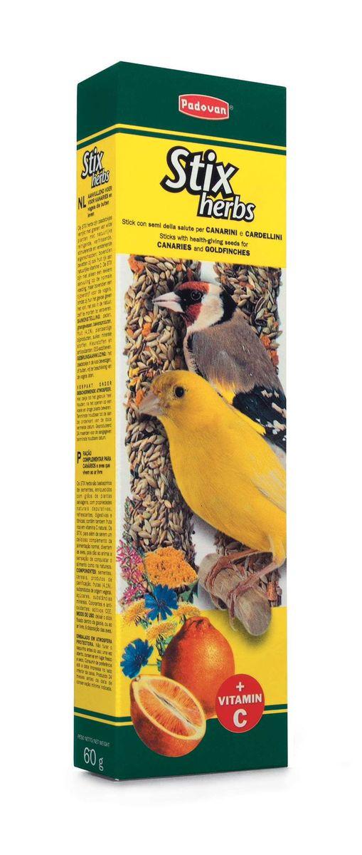 Лакомство Padovan Антистрессовые для канареек и экзотических птиц, палочки с травами, 2 шт х 60 г padovan корм padovan lino для птиц зёрна льна 1 кг