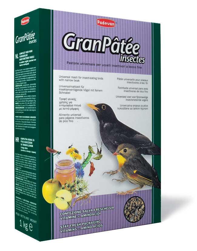 Корм Padovan GranPatee insectes для насекомоядных птиц, с насекомыми, 1 кг padovan корм padovan granpatee fruits для насекомоядных птиц комплексный фруктовый 1 кг