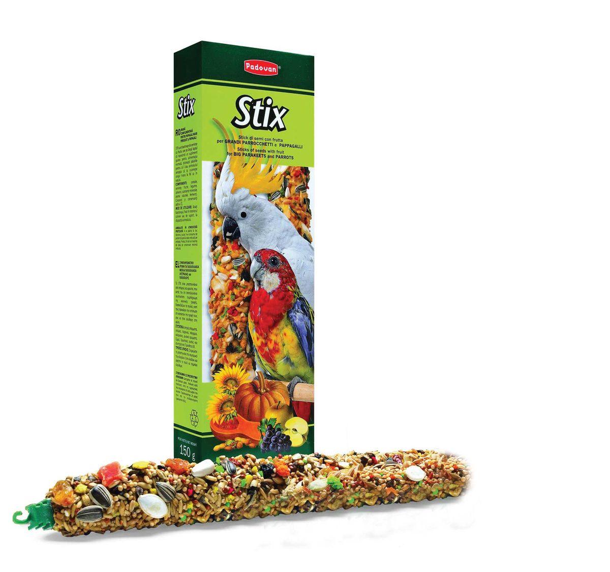Лакомство Padovan Фруктовые для крупных и средних попугаев, палочки, 2 шт х 150 г лакомство для попугаев padovan фруктовое 150г