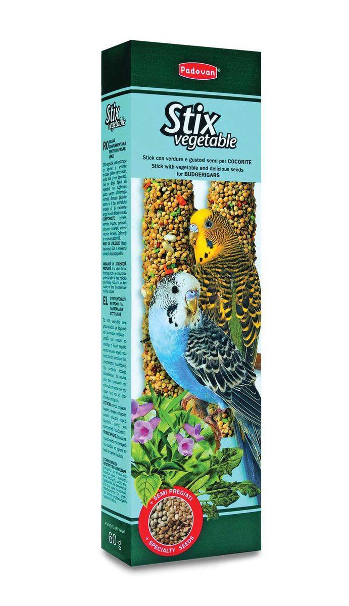Лакомство Padovan Овощные, для волнистых попугаев, палочки, 2 шт х 60 г padovan корм padovan lino для птиц зёрна льна 1 кг
