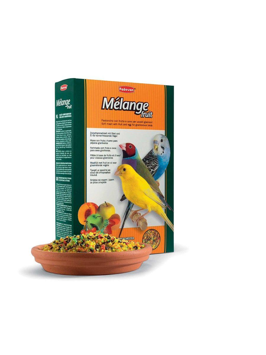 Корм Padovan Melange fruit, для декоративных птиц, для улушения оперения во время линьки, 300 г корм padovan blancpatee дополнительный для декоративных птиц при линьке мягкий 300 г