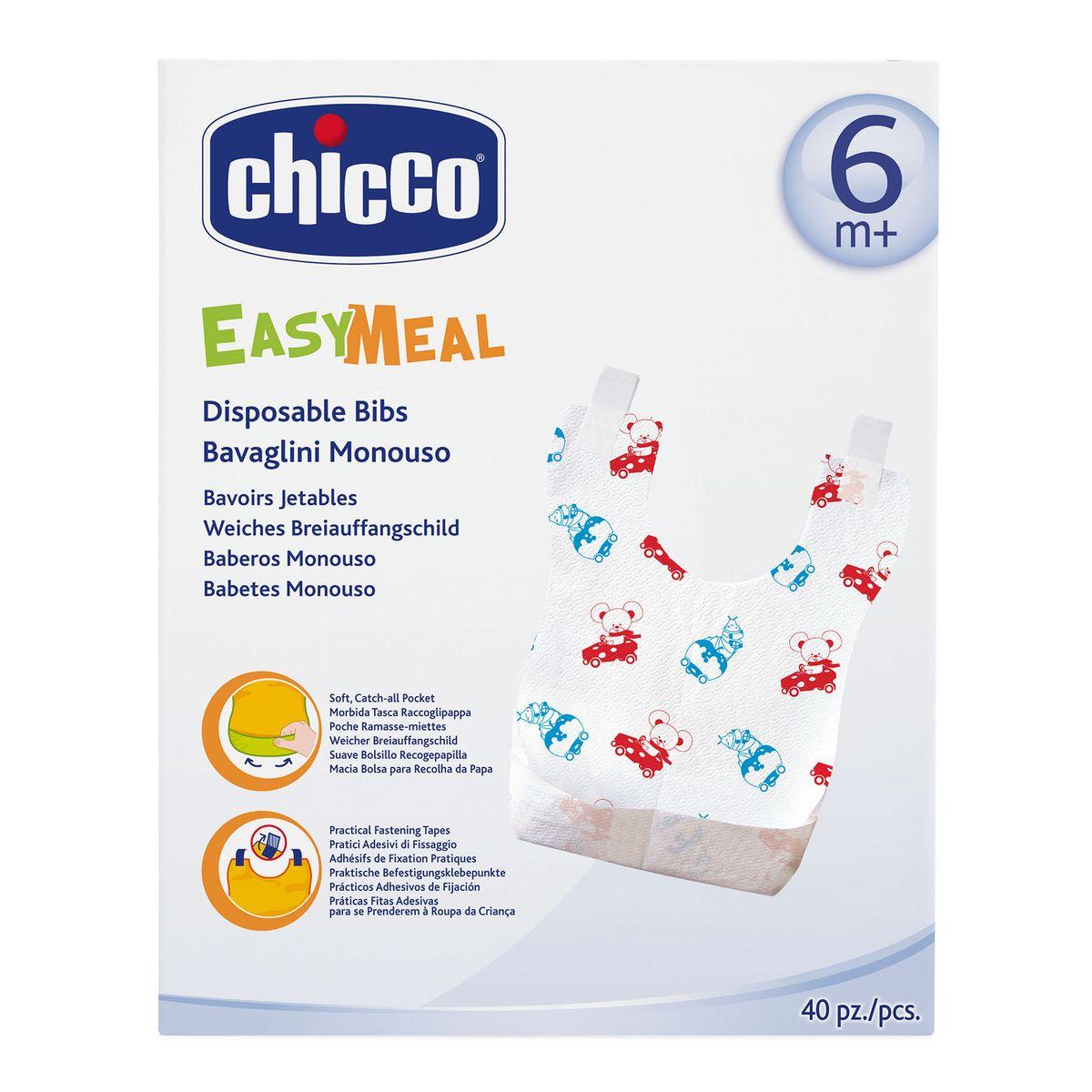 цены на Chicco Нагрудник одноразовый с карманом и липучками 40 шт  в интернет-магазинах