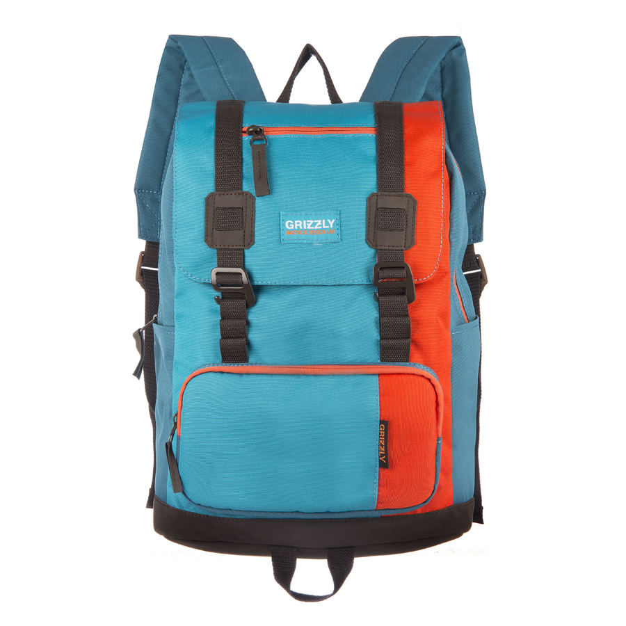 Рюкзак городской Grizzly, цвет: голубой, оранжевый, 23 л. RU-619-2/1 рюкзак городской grizzly цвет салатовый коричневый 23 л ru 619 2 2