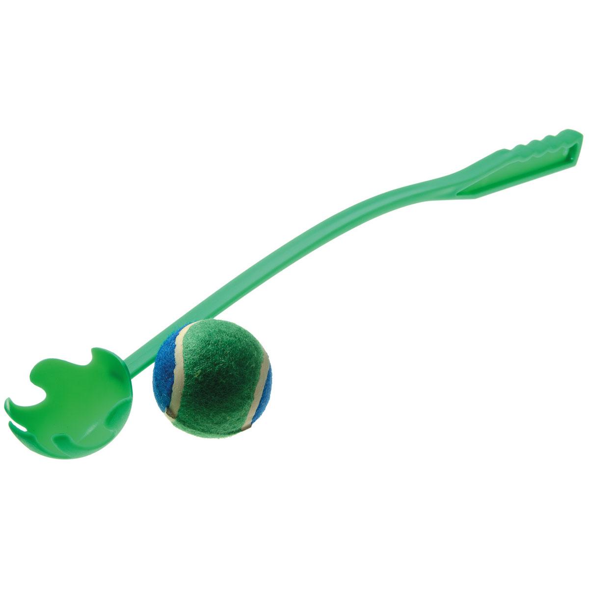 Игрушка для собак V.I.Pet Катапульта ручная, с мячом, цвет: зеленый, длина 50 см игрушка для собак safemade biggie bone цвет зеленый длина 20 см