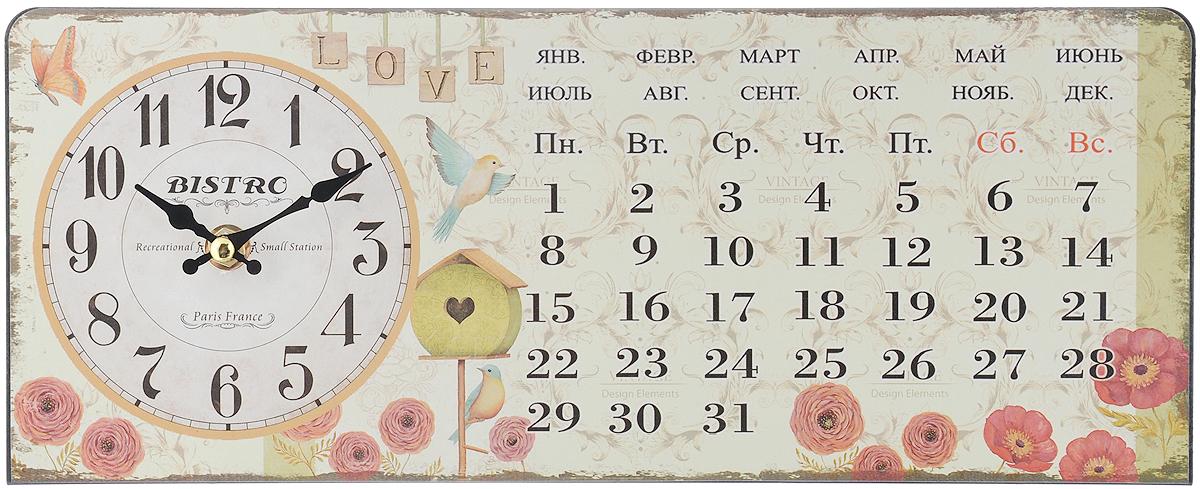 """Часы настольные Феникс-Презент """"Красные цветочки"""", 35 х 14 см"""