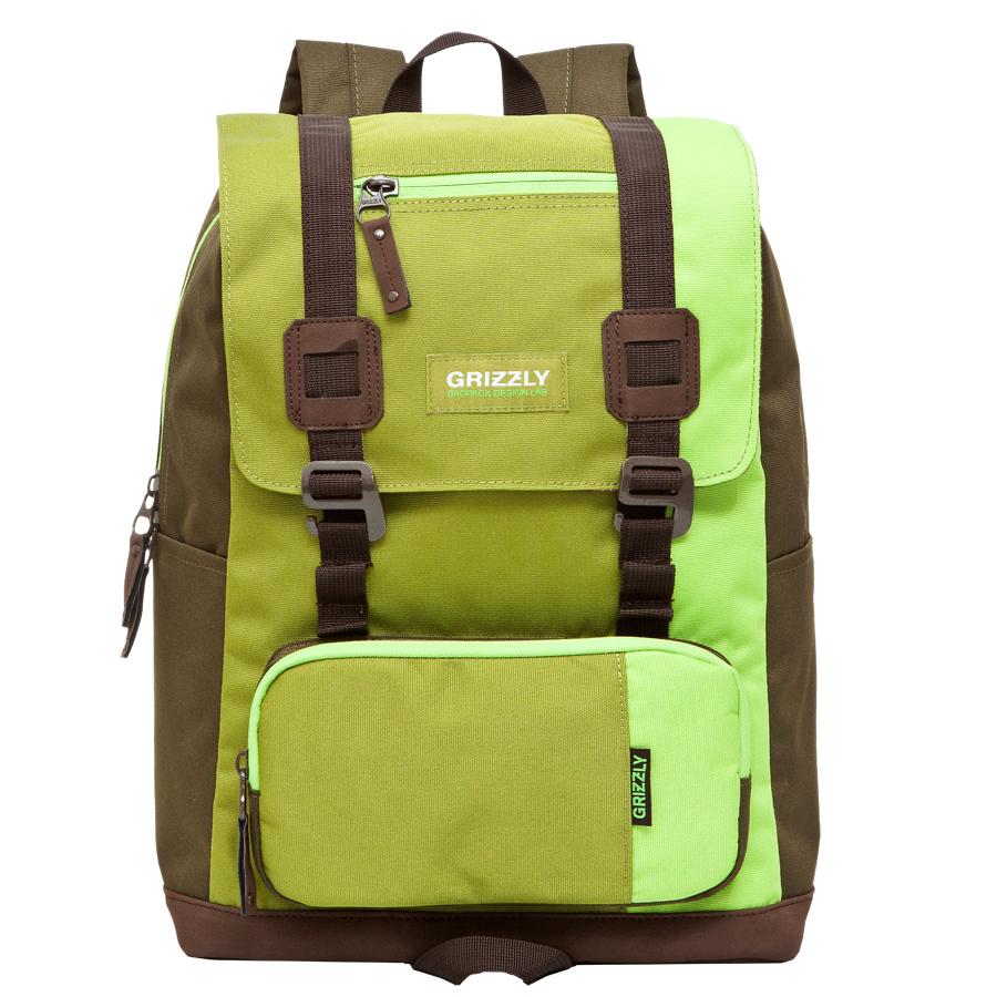Рюкзак городской Grizzly, цвет: салатовый, коричневый, 23 л. RU-619-2/2 рюкзак городской grizzly цвет салатовый коричневый 23 л ru 619 2 2
