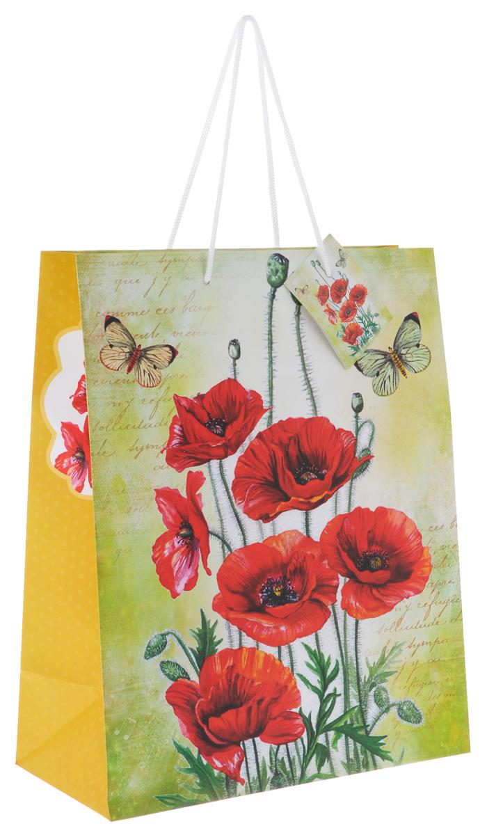 Пакет подарочный Феникс-Презент Маки, 26 х 32,4 х 12,7 см пакет подарочный феникс презент каток 26 х 33 х 13 см