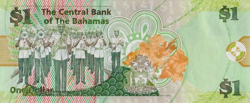 Банкнота номиналом 1 доллар. Багамские о-ва. 2015 год