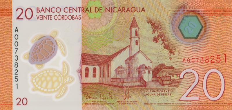 Банкнота номиналом 20 кордоб. Полимер. Никарагуа. 2014 год банкнота номиналом 2 кордоба никарагуа 1972 год