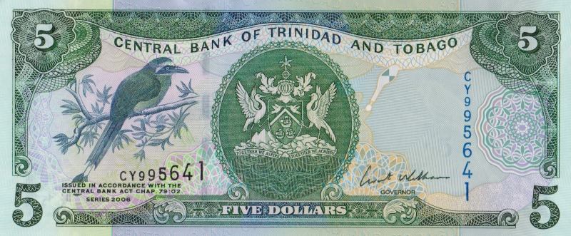Банкнота номиналом 5 долларов. Тринидад и Тобаго. 2006 год банкнота номиналом 500 долларов зимбабве 2006 год