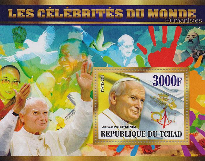 Почтовый блок Папа Иоанн-Павел II из серии Мировые знаменитости. Чад, 2015 год малый лист художники эпохи барокко из серии мировые знаменитости чад 2015 год