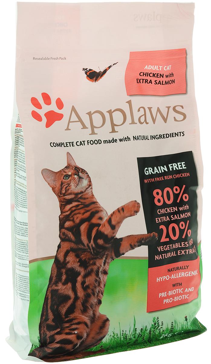 Корм сухой Applaws для кошек, беззерновой, с курицей, лососем и овощами, 2 кг корм для кошек applaws отзывы