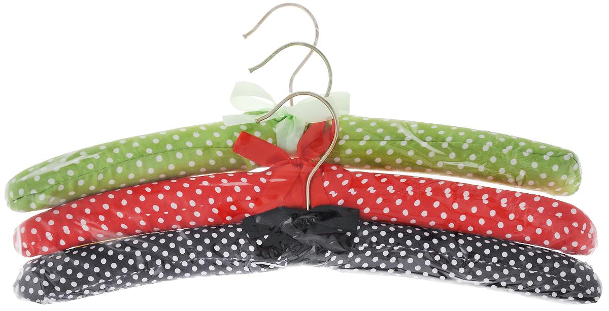 Набор вешалок для одежды Home Queen Горошек, цвет: зеленый, красный, черный, 3 шт запасные блоки для чистки одежды home queen 20 слоев 2 шт