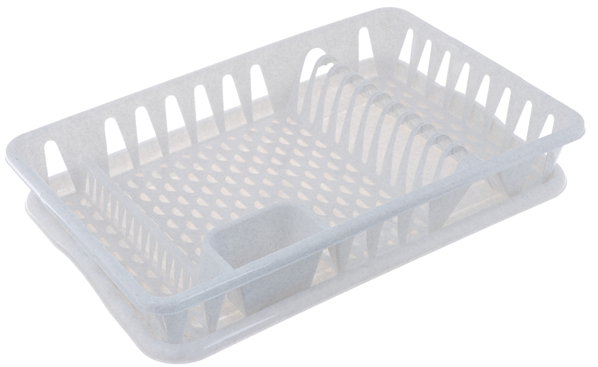 "Сушилка для посуды ""Idea"", с поддоном, цвет: мраморный, 50 х 32,5 х 8 см"