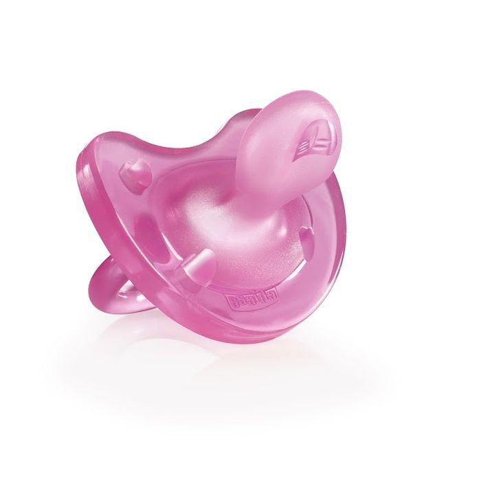 Chicco Пустышка Physio Soft силиконовая от 12 месяцев цвет розовый