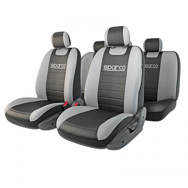 Чехлы автомобильные Sparco Classic, универсальные, цвет: черный, серый, 11 предметов, размер М