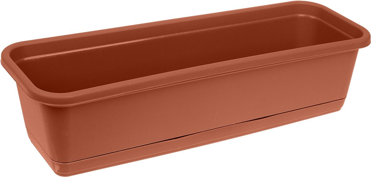 Балконный ящик Idea, с поддоном, цвет: терракотовый, 60 х 18 см ящик балконный emsa landhaus цвет темно зеленый 50 х 20 х 16 см