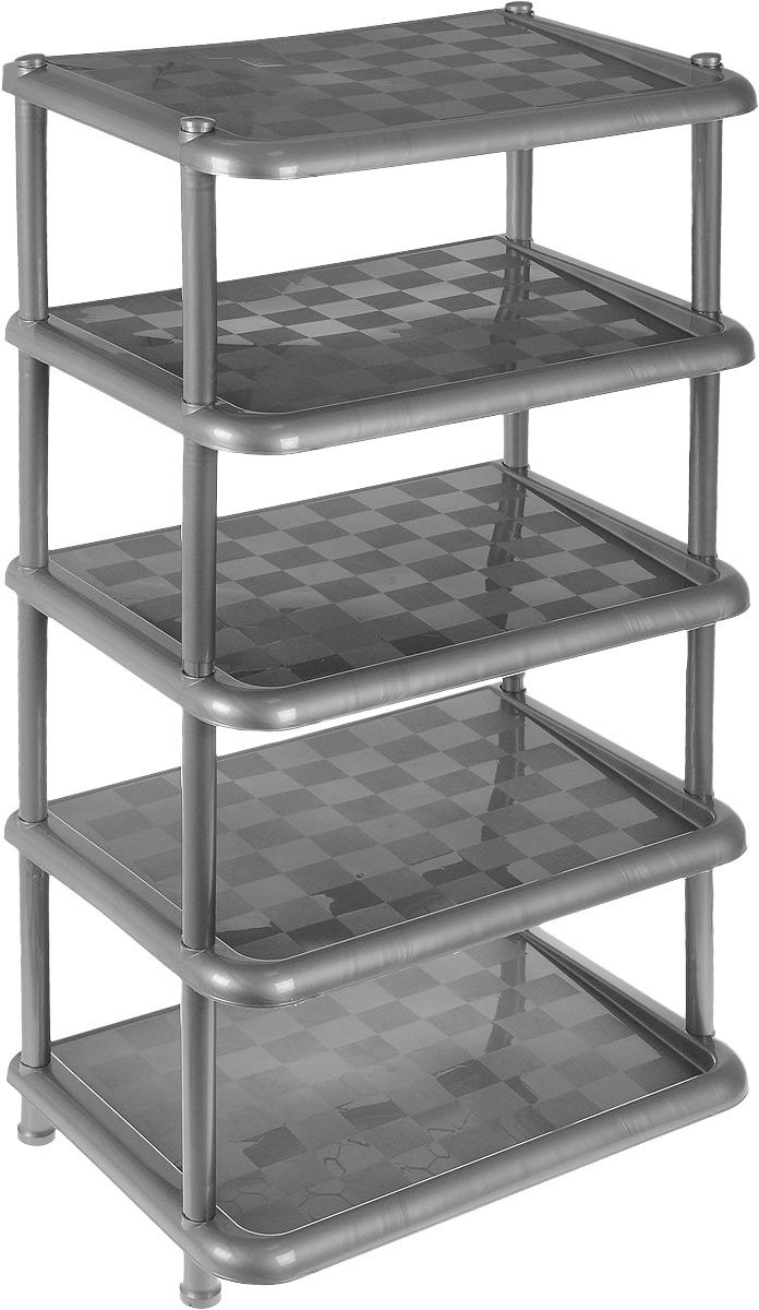 Этажерка для обуви Idea, 5-секционная, цвет: светло-серый металлик, 49,7 х 30,7 х 83,7 см этажерка для обуви летний день 4 х секционная цвет бежевый 52 см х 30 см х 83 см