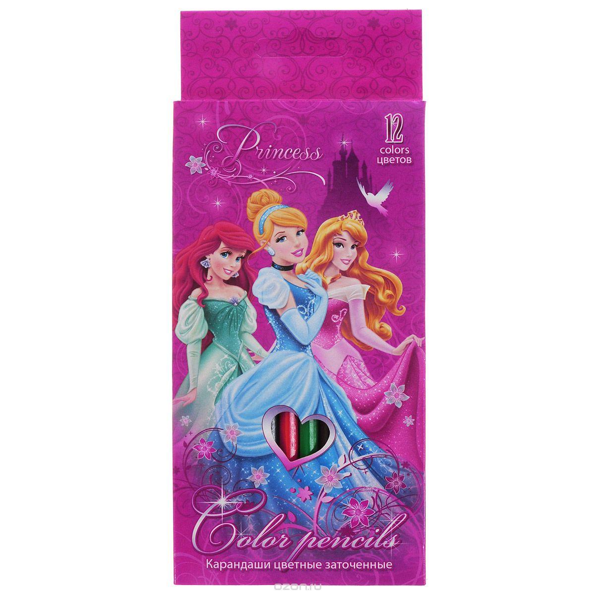 Набор цветных карандашей, 12 шт. Цветные карандаши длиной 17,8 см; заточенные; дерево ; цветной грифель 3 мм; карандаш в цвет грифеля с логотипом; Коробка из мелованного картона, раздвижная, европодвес. Princess
