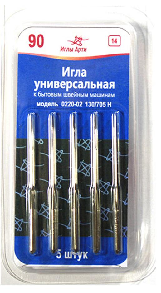 Иглы для швейных машин Арти, универсальные, №90, 5 шт
