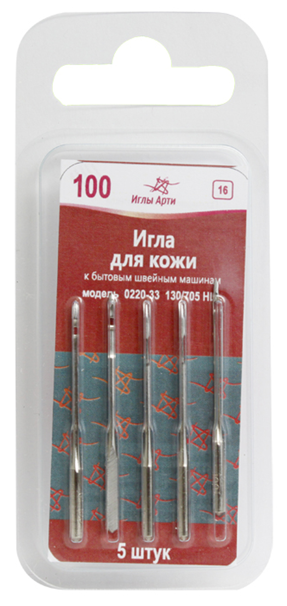 """Иглы для швейных машин """"Иглы Арти"""", для кожи, №100, 5 шт"""