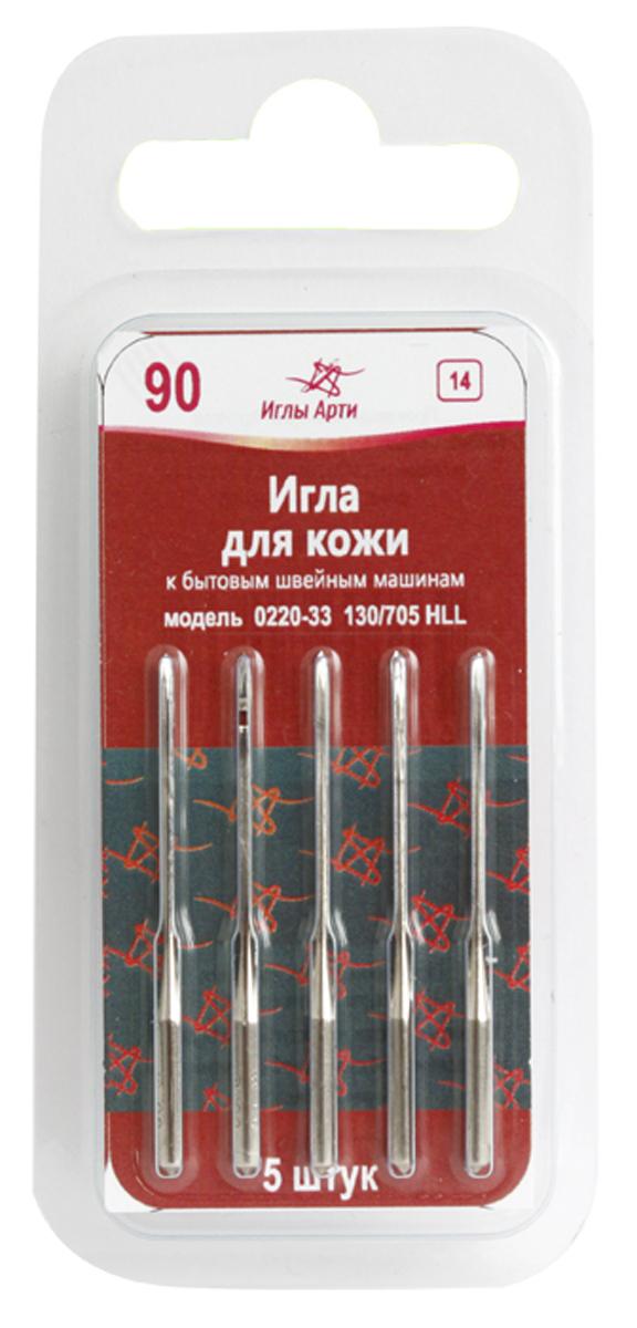 """Иглы для швейных машин """"Иглы Арти"""", для кожи, №90, 5 шт"""