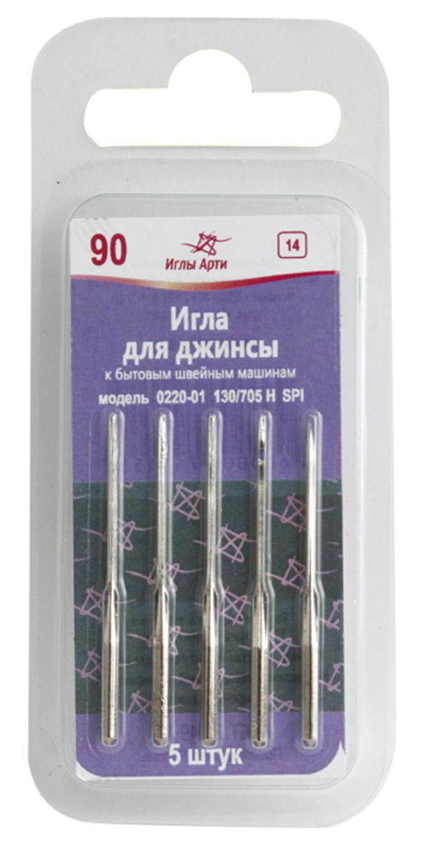 Иглы для бытовых швейных машин Иглы Арти 0220-01, для джинсы, №90, 5 шт ремень bestex для бытовых швейных машин 20 шт 181580