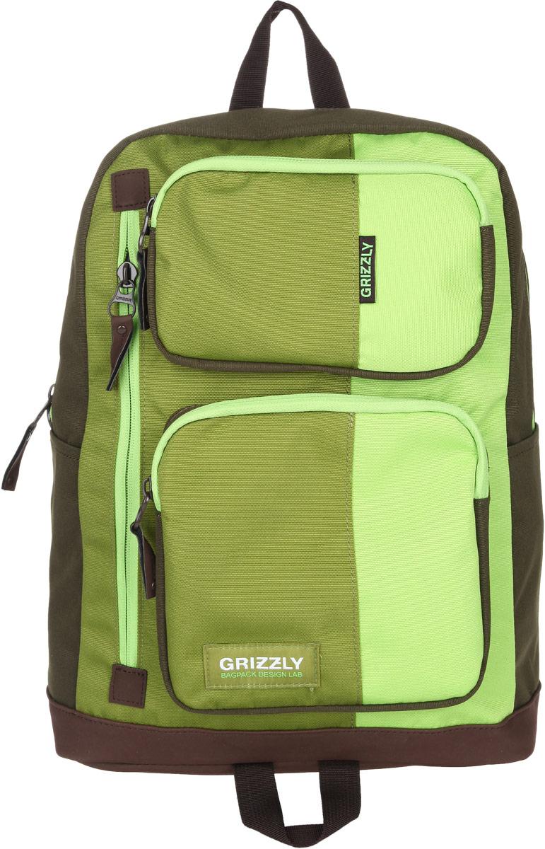 Рюкзак городской Grizzly, цвет: салатовый, 23 л. RU-619-1/2 рюкзак городской grizzly цвет салатовый коричневый 23 л ru 619 2 2