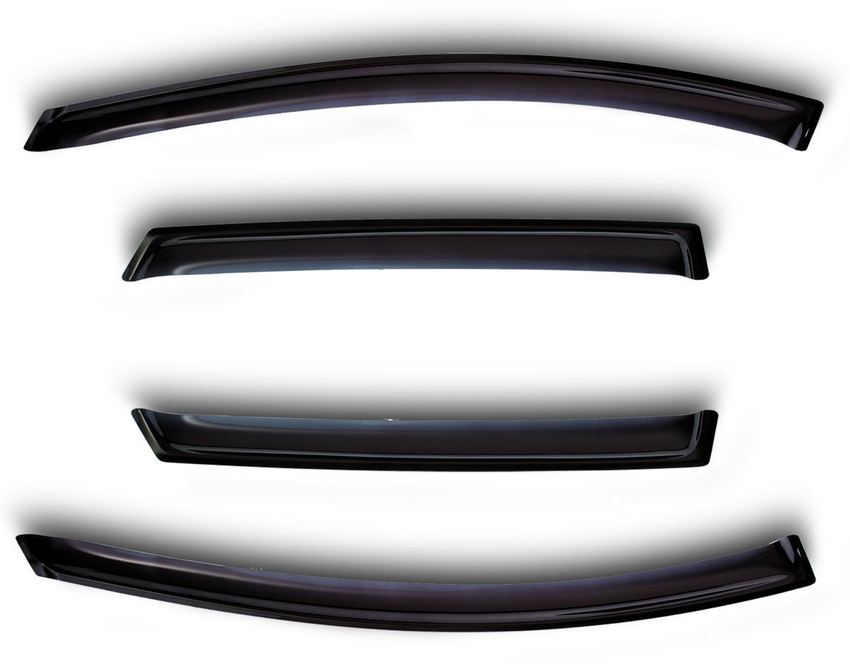 Комплект дефлекторов Sim, для Kia Soul 2009-2013, 4 штNLD.SKISOU0932Комплект накладных дефлекторов позволяет направить в салон поток чистого воздуха, защитив от дождя, снега и грязи, а также способствует быстрому отпотеванию стекол в морозную и влажную погоду. Дефлекторы улучшают обтекание автомобиля воздушными потоками, распределяя их особым образом. Дефлекторы в точности повторяют геометрию автомобиля, легко устанавливаются, долговечны, устойчивы к температурным колебаниям, солнечному излучению и воздействию реагентов. Современные композитные материалы обеспечивают высокую гибкость и устойчивость к механическим воздействиям.
