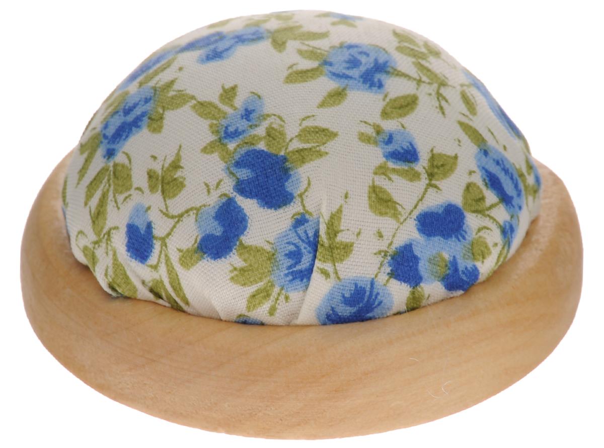 Игольница Феникс-Презент Цветы, цвет: синий, белый, диаметр 7 см феникс презент декоративная кукла снегурочка катюша на подставке 30 см