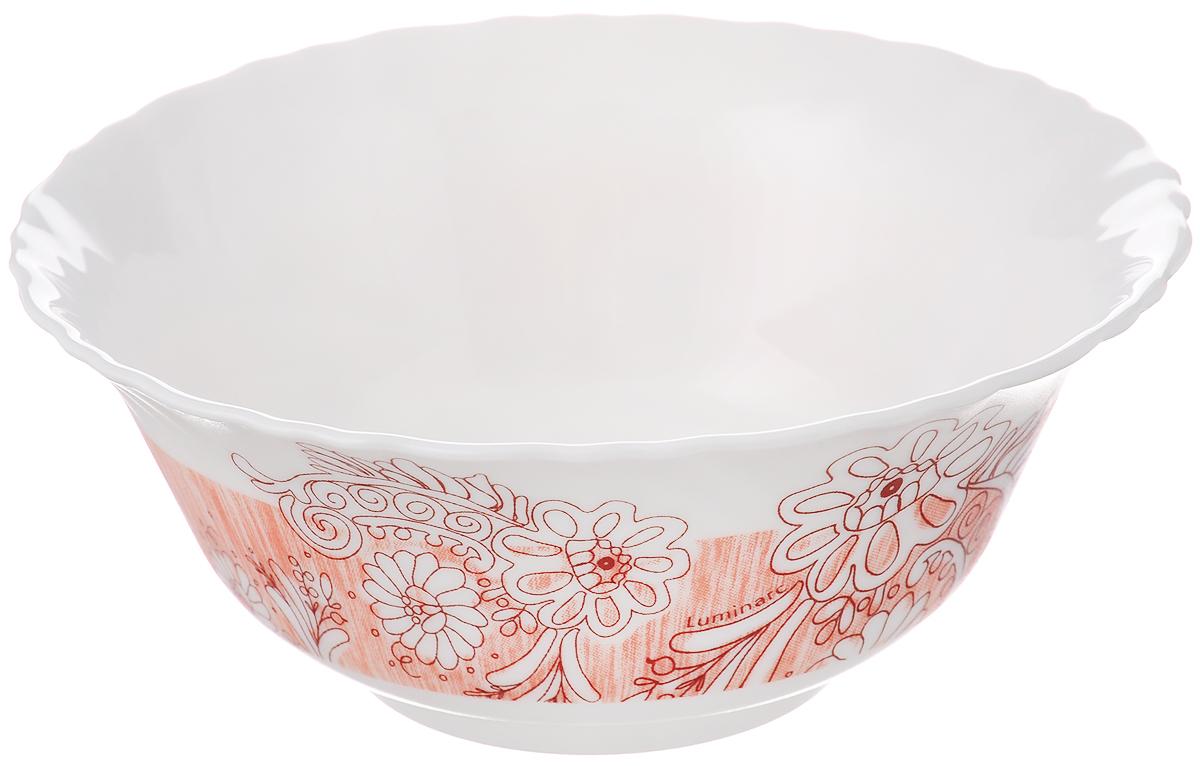 "Салатник Luminarc ""Minelli"", цвет: белый, светло-оранжевый, диаметр 12,5 см"