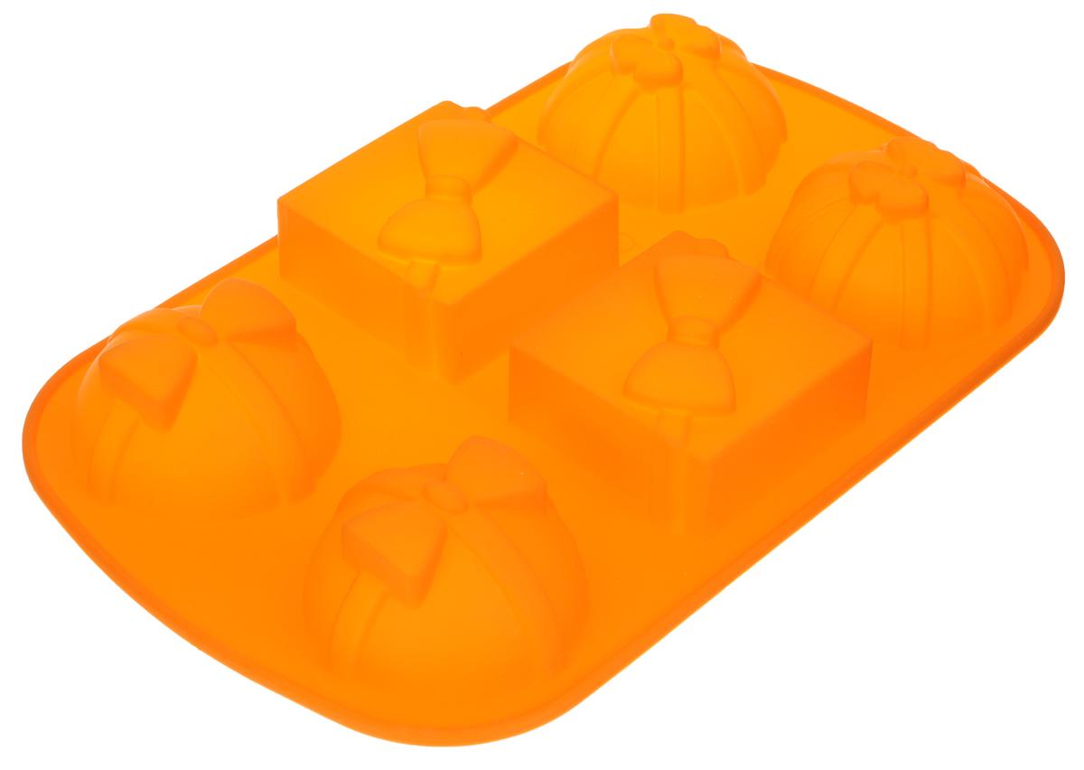 Форма для выпечки Marmiton Подарки, силиконовая, цвет: оранжевый, 27,5 х 17,5 х 3 см, 6 ячеек коврик для выпечки marmiton антипригарный 33 см х 40 см