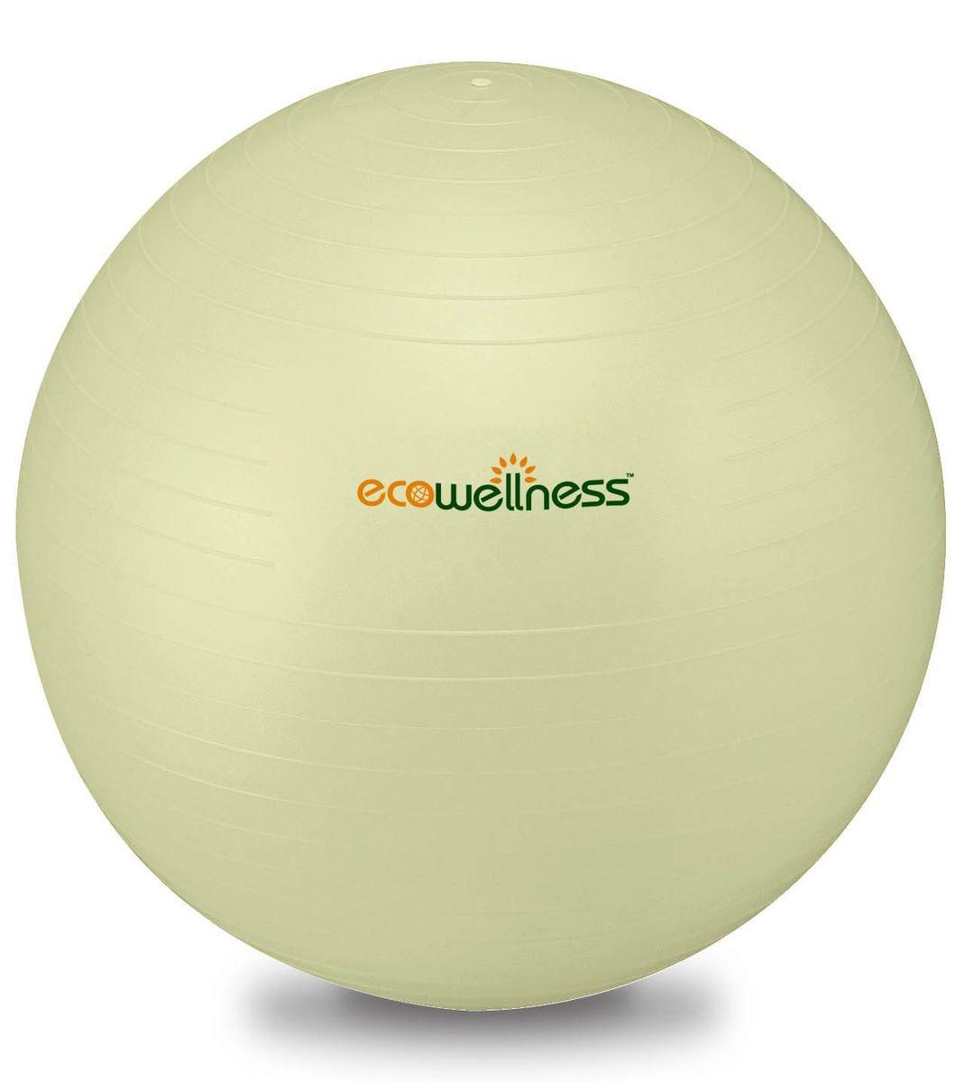Мяч гимнастический Ecowellness 65 см, c ручным насосом, цвет: светло-зеленый. QB-001TAG3-26 мяч гимнастический ecowellness цвет серый зеленый диаметр 65 см