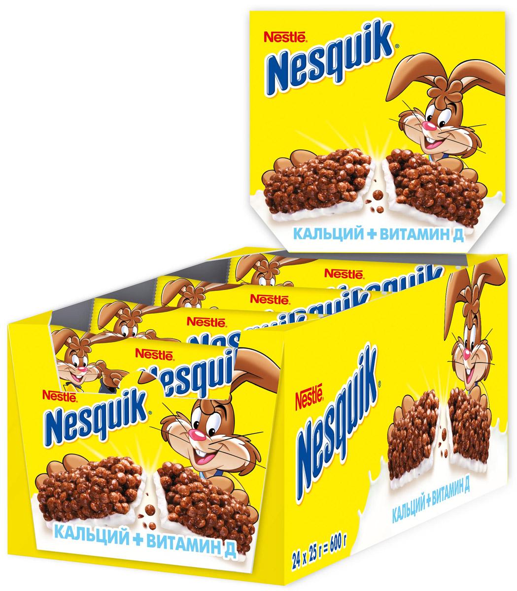 Nestle Nesquik Шоколадный батончик с цельными злаками, 24 шт по 25 г шоколадный батончик nesquik 43г