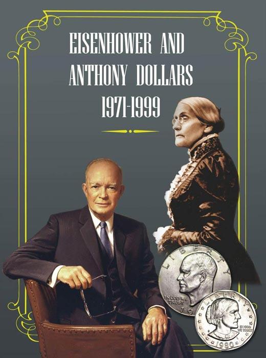 Альбом для долларов Сьюзен Энтони и Эйзенхауэра кассета для монет piano для монетных капсул quadrum 20 ячеек
