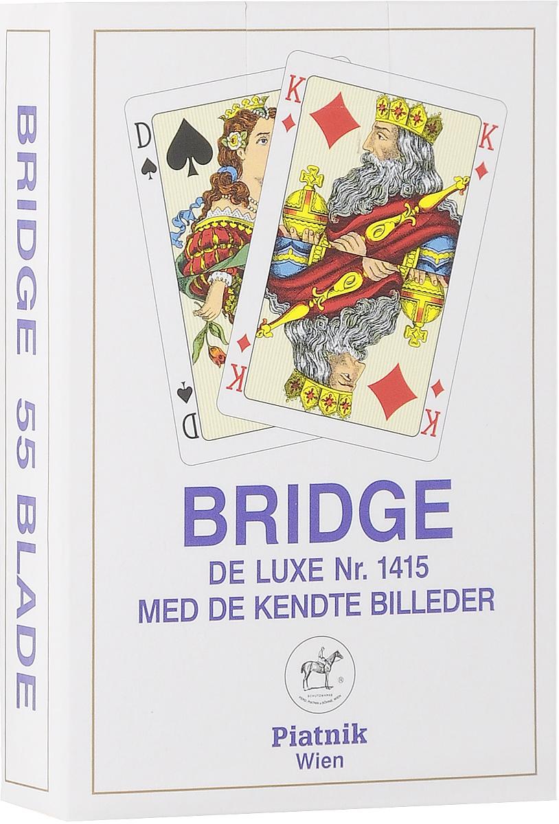 цена на Игральные карты Piatnik Профессиональные Бридж De Luxe, цвет: синий, 55 листов1415_синий белый, синий