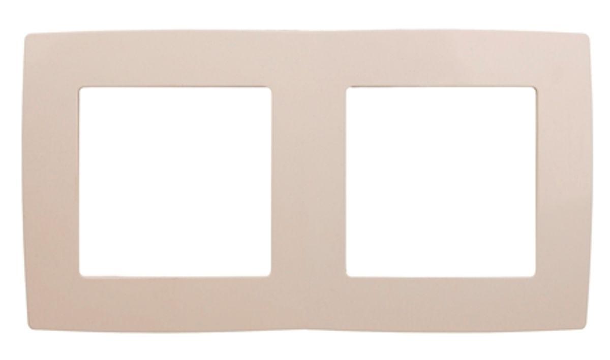 Рамка для встраиваемой розетки Эра, на 2 поста, горизонтальный и вертикальный монтаж, цвет: слоновая кость коробка подарочная veld co giftbox трансформер узоры и надписи под бутылку цвет слоновая кость 34 4 х 8 2 х 8 2 см