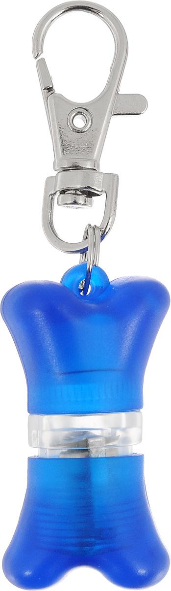 """Маячок-адресник на ошейник V.I.Pet """"Неоновая косточка"""", цвет: синий. 01017"""