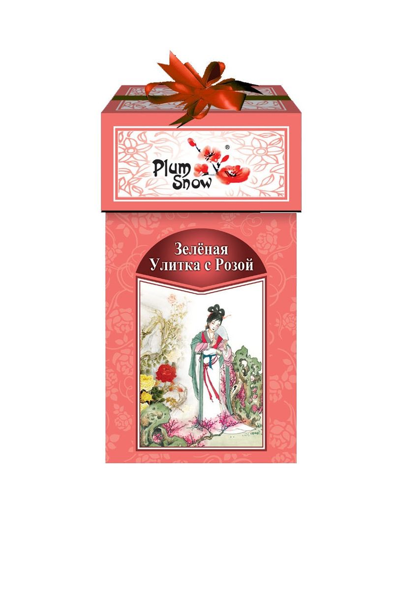 Plum Snow Зеленая улитка зеленый листовой чай с розой, 100 г цена в Москве и Питере