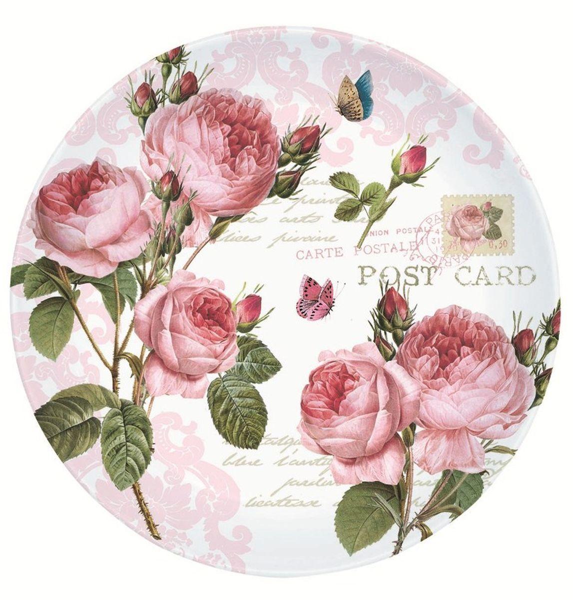 Тарелка десертная Nuova R2S Романтические розы, диаметр 19 см настольная подложка nuova r2s s p a