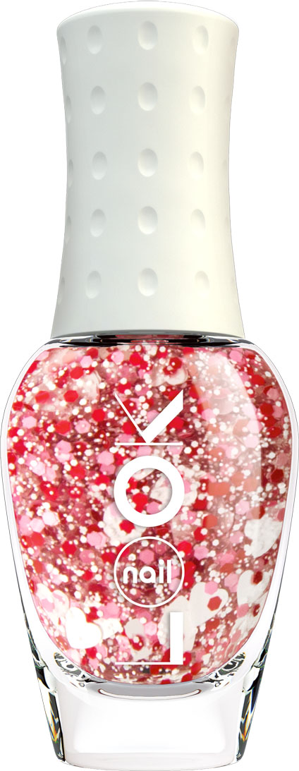цена на nailLOOK Лак для ногтей Trends Miracle Top розовый с крупным глиттером(сердечки)