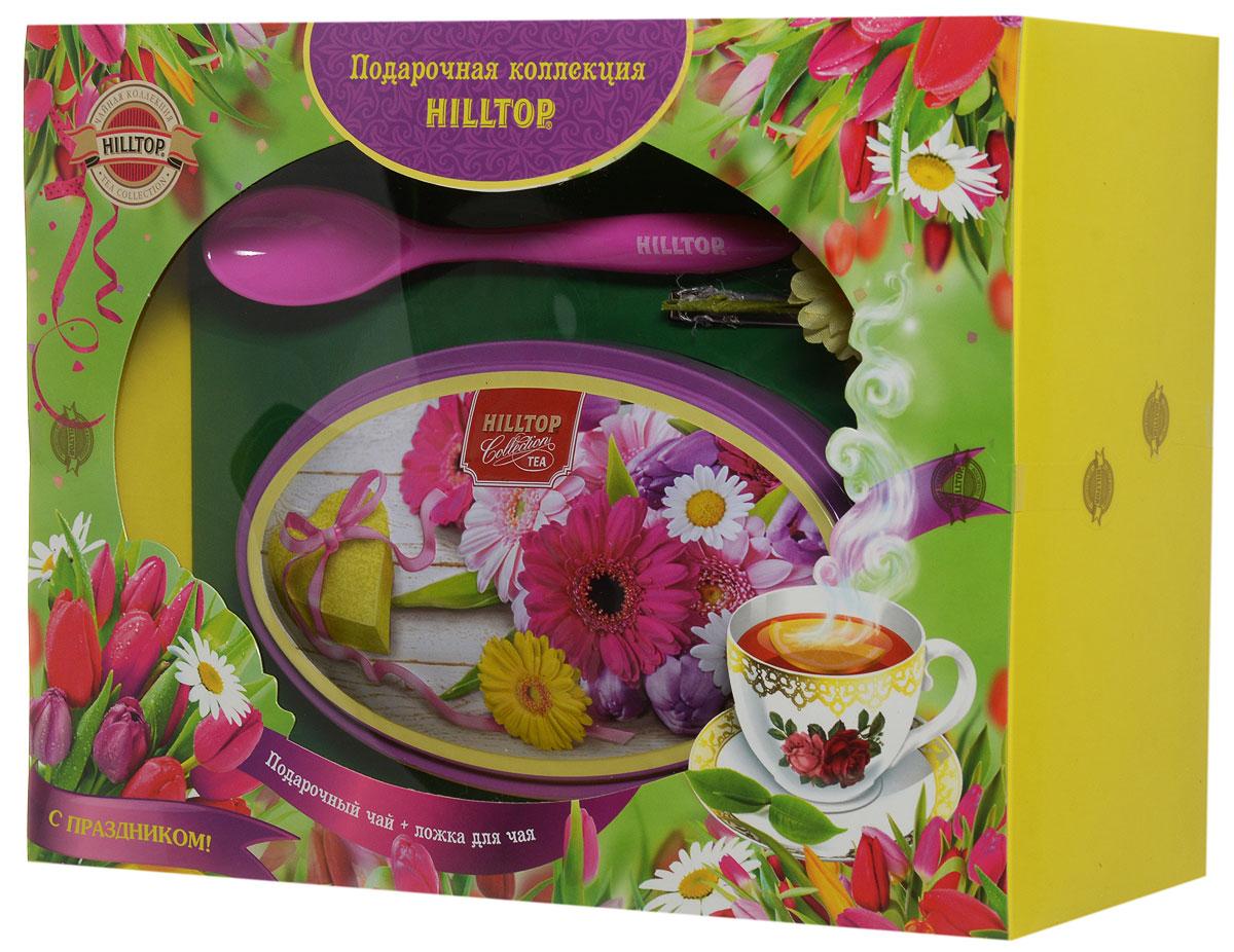 Фото - Hilltop Летние цветы. Волшебная луна черный листовой чай, 100 г (подарочный набор с ложечкой для чая) hilltop романтический пейзаж подарочный набор 3 шт по 50 г