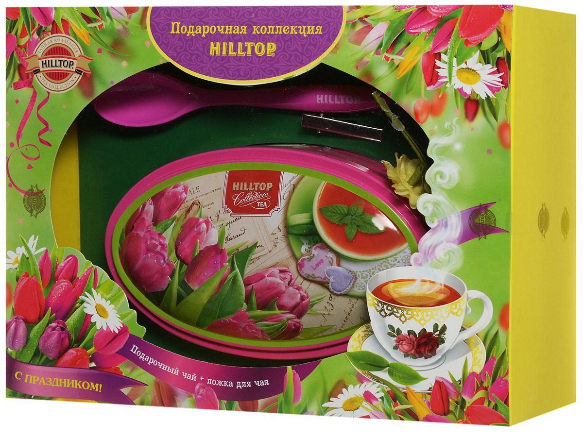 Фото - Hilltop Розовые тюльпаны. Цейлонское утро черный листовой чай, 100 г (подарочный набор с ложечкой для чая) hilltop романтический пейзаж подарочный набор 3 шт по 50 г