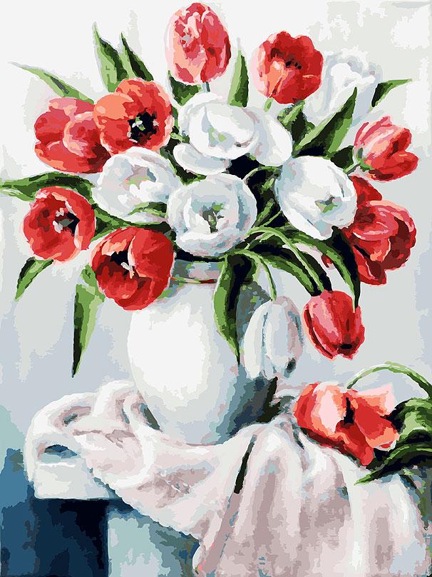 Живопись на холсте Белоснежка Красные и белые, 30 х 40 см набор для творчества белоснежка живопись на холсте 30 40см щенки на поляне