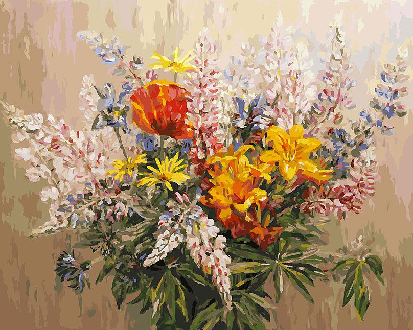 Живопись на холсте Белоснежка Букет с желтыми лилиями, 40 х 50 см живопись на холсте букет маков 40 см х 50 см