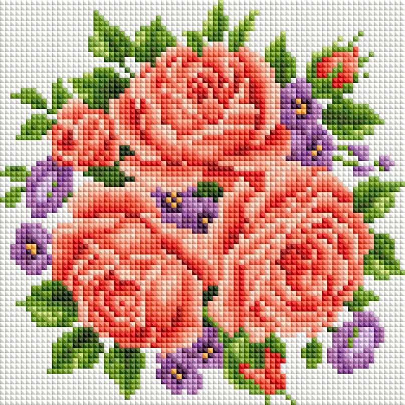 """Алмазная мозаика на подрамнике Белоснежка """"Розы и фиалки"""", 20 х 20 см"""