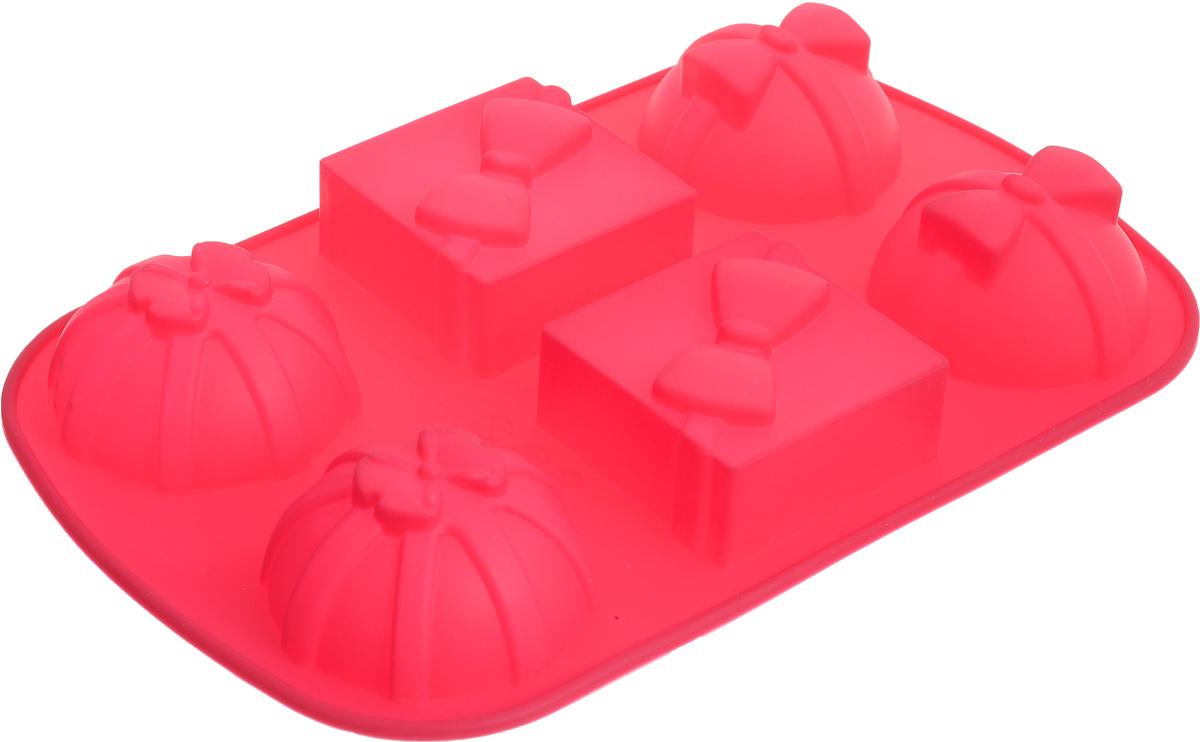 Форма для выпечки Marmiton Подарки, силиконовая, цвет: розовый, 27,5 х 17,5 х 3 см, 6 ячеек коврик для выпечки marmiton антипригарный 33 см х 40 см