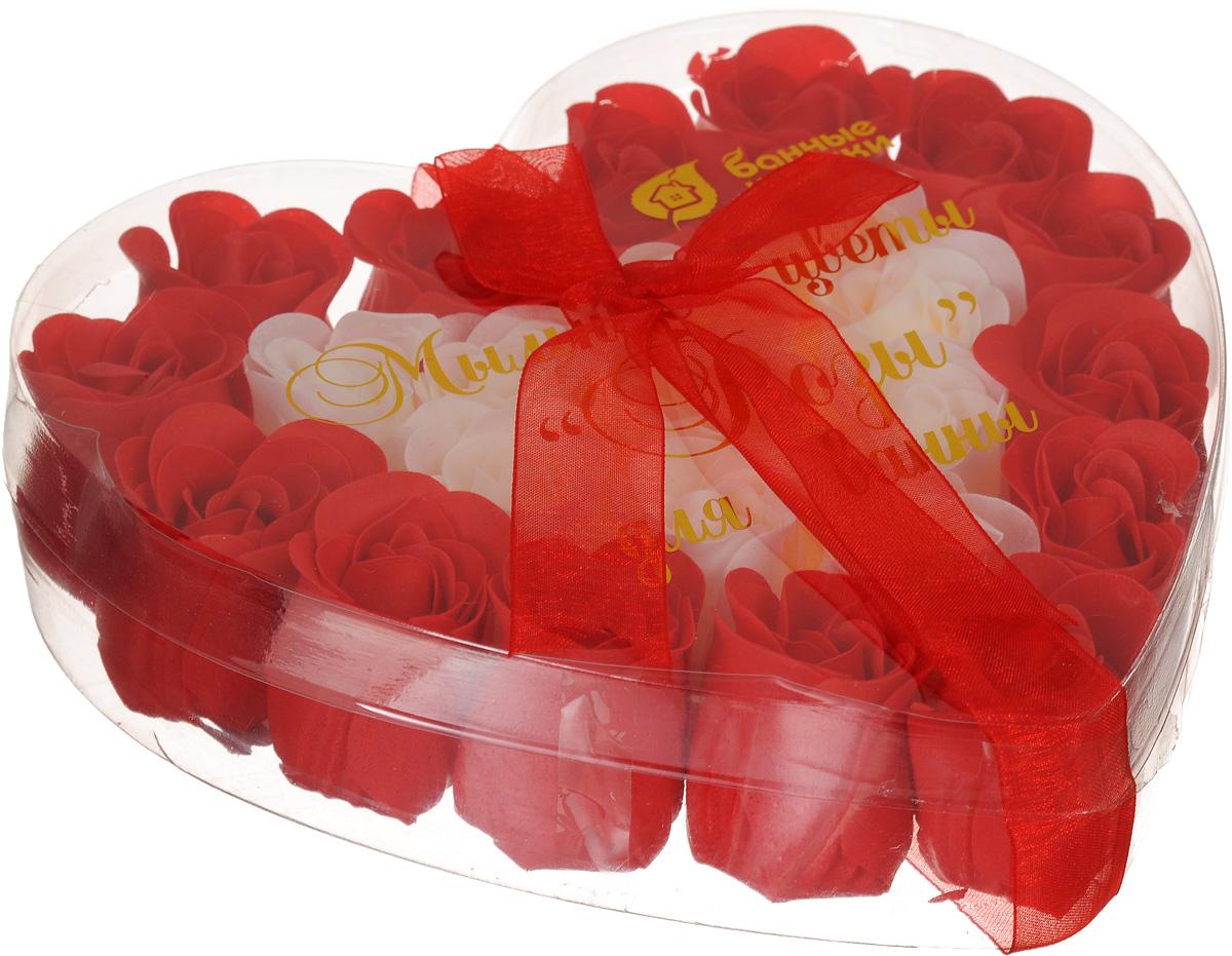 Мыльные цветы Банные штучки Розы, цвет: красный, белый, 24 шт ароматизатор банные штучки апельсин