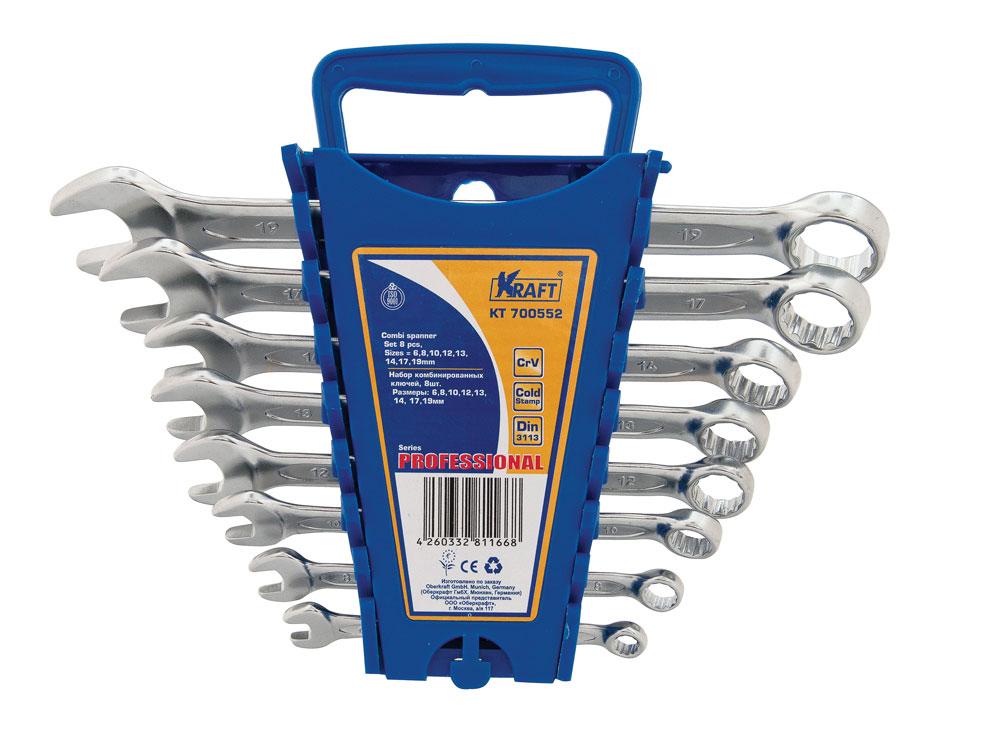 Набор ключей комбинированных Kraft Professional, 8 предметов набор комбинированных ключей kraft master с держателем 9 предметов