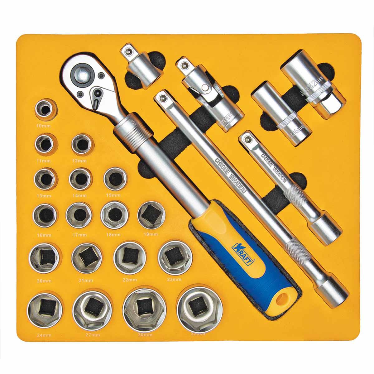 Набор инструментов Kraft, 1/2, 25 предметов. КТ 700617 рукоятка kraft трещоточная с быстрым сбросом 3 8dr kt 700362